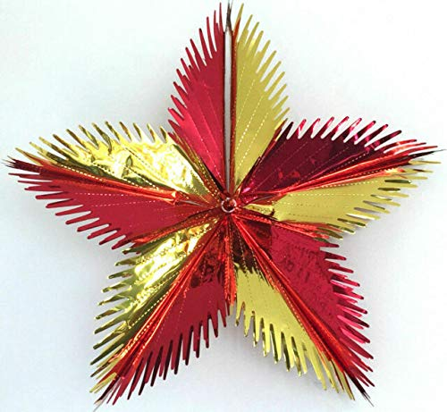 LASERTEK LARGE 3D GOLD/RED STAR CHRISTMAS FOIL DECORATION Diameter approx 50cm