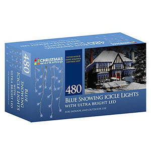 480 LED Bright Blue Snowing icicles, Indoor and Outdoor, lights