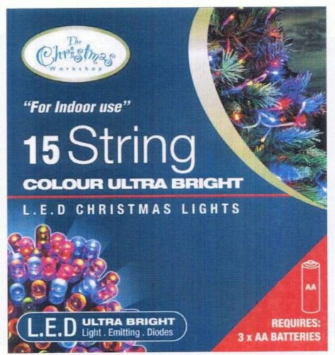 Battery Operated LED Fairy Lights Coloured 15 Bulbs - Static