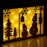 Snowman Silhouette Frame, Pine Colour, 28cm High