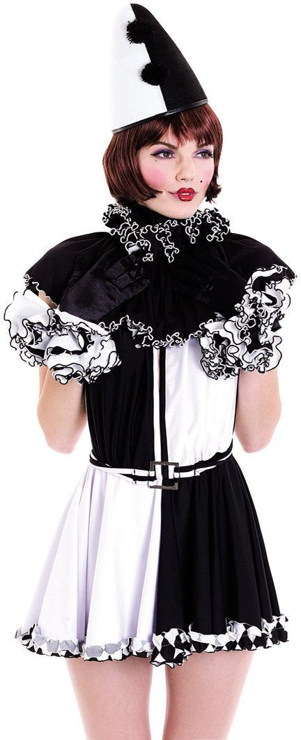 Paper Magic Women's French Kiss Pierrot Costume,Black/White,Small