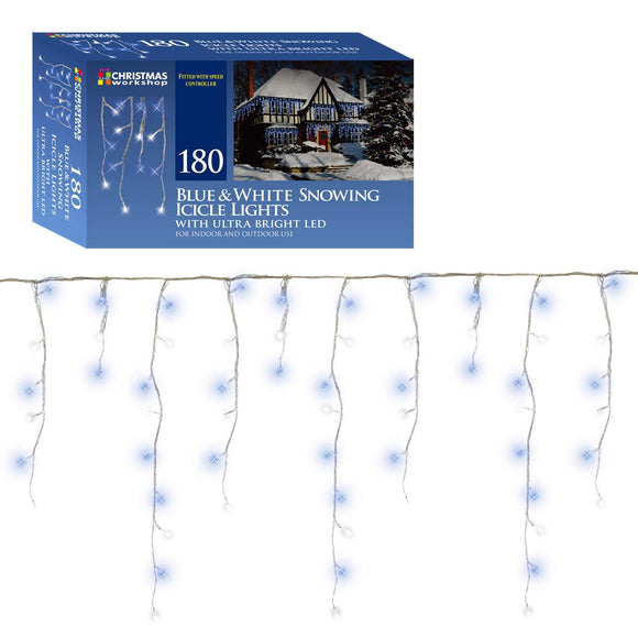 180 LED Bright Blue, Brillant White Snowing icicles, Indoor and Outdoor, lights