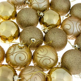24 x Assorted Gold Christmas Baubles Balls Decorations - Shatterproof - Xmas