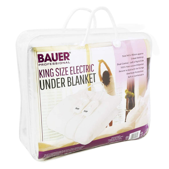 Bauer Heated Electric Blanket Soft Under Duvet Tie Down King Size 39070
