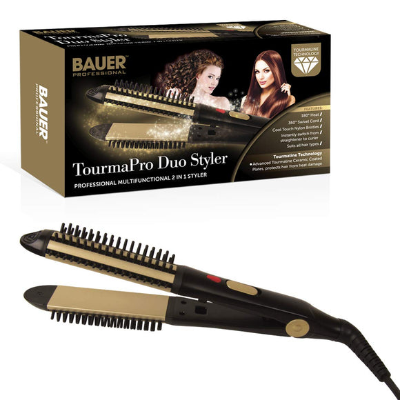 Bauer Tourmapro Duo Styler 2 In 1 Tourmaline Ceramic Hair Straighteners & Curler 38890