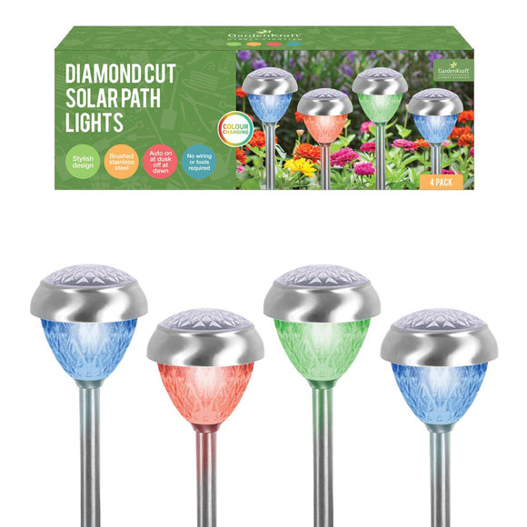 4 Pack Diamond Cut Solar Path Lights Stainless Steel Colour Changing LED