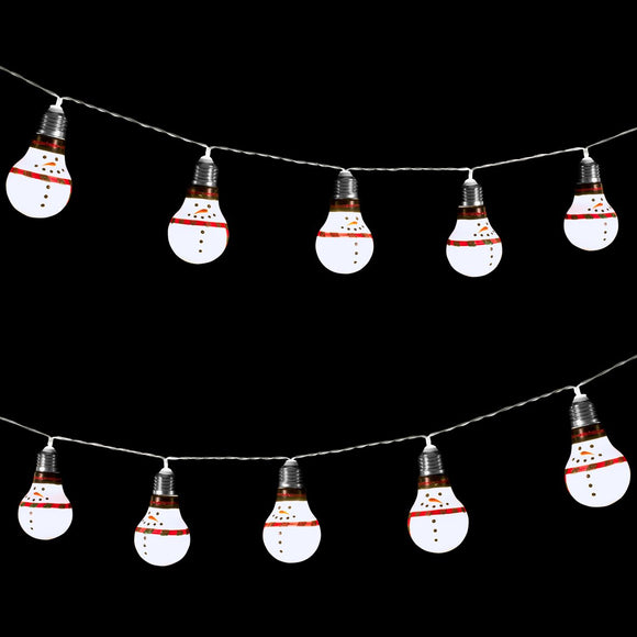 Battery Operated 10 LED Snowman Retro Bulb Shaped String Lights,