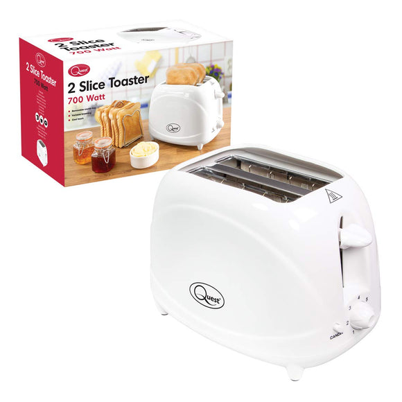 Quest 34270 Classic Two Slice Toaster Variable Browning Levels Cool Touch, 700W, H16 x W25 x 14.5cm, White