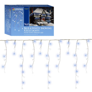 960 LED Ultra Bright white and brillant blue, snowing, Indoor and Outdoor, Icicle lights