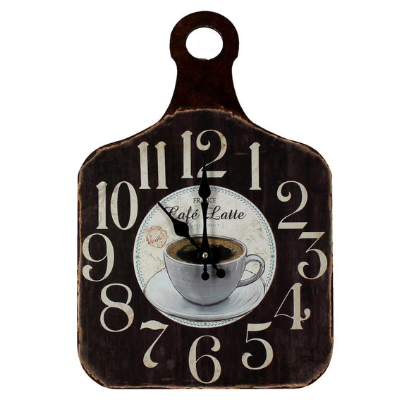 Vintage Shabby Chic Style Wall Clock Chopping Board Style , Cafe Latte Brown