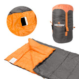 Envelope Sleeping Bag Single 3 Season Double Insulation Grey & Orange