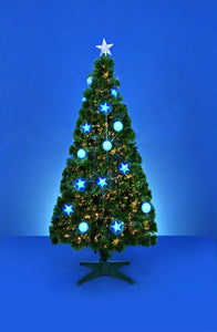 2.1M fibre optic tree with blue baubles