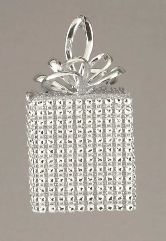 3 x Silver Diamante Square 10cm Christmas Xmas Decorations Baubles