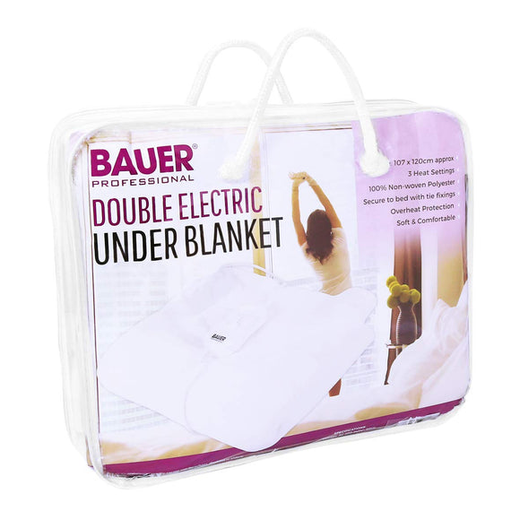 Bauer Professional Heated Electric Blanket Soft Under Duvet Tie Down Double Size 39060