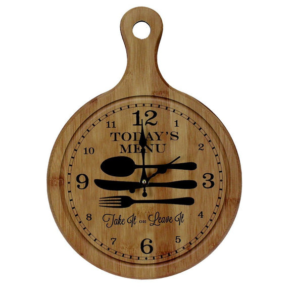 Today's Menu Wall Clock Vintage Shabby Antique Kitchen Home Choping Board Style