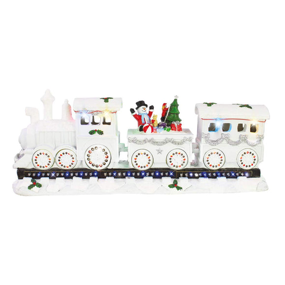 The Christmas Workshop Musical Train Ornament, White with Multi LED, 17cm High x 39cm Wide x 11cm D