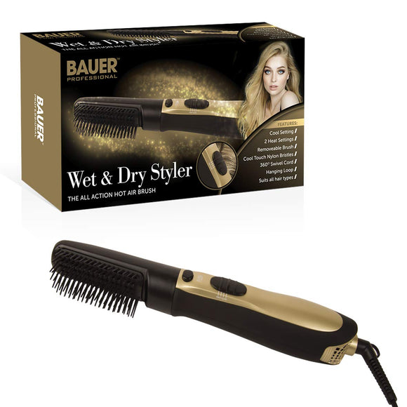 Bauer Professional Wet & Dry Styler Hot Air Brush 38880