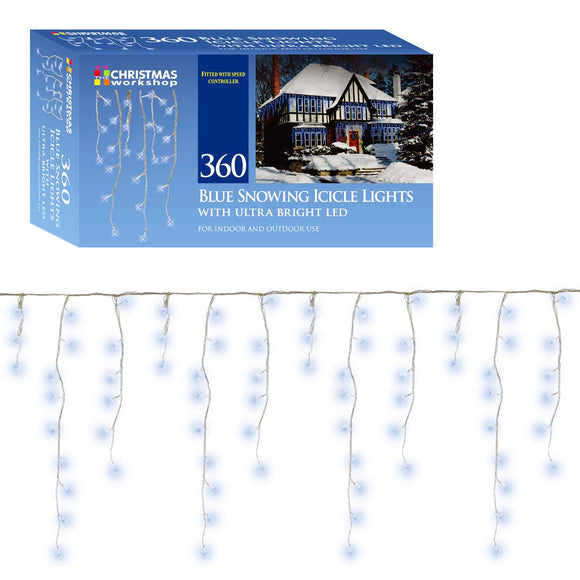 360 LED Bright Blue Snowing icicles, Indoor and Outdoor, lights