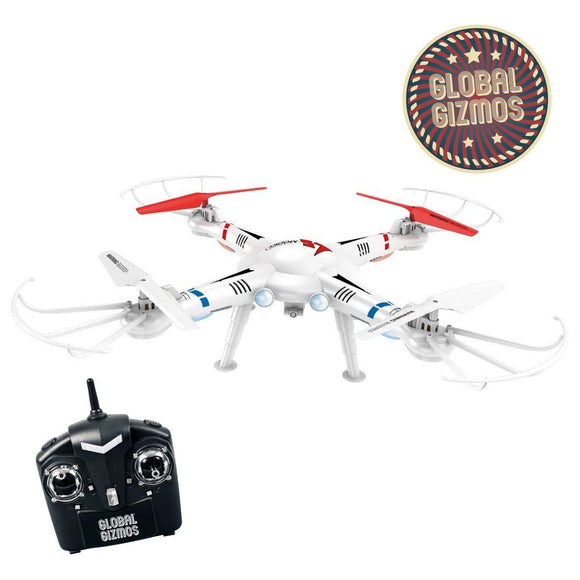 Global Gizmos 50cm 6 Axis Gyro Quadcopter Drone Helicopter RC 2.4 GHz with Camera Xmas Gift 2GB Micro SD Photographs Video Records