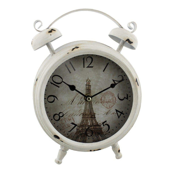 Widdop Rustic White Mantel Clock - Paris Clockface