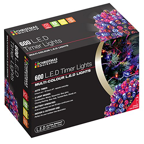 600 LED Battery Operated Timer Lights~ Indoor and Outdoor ~Multi-Coloured
