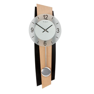 Modern Quartz Pendulum Wall Clock Black/Beech