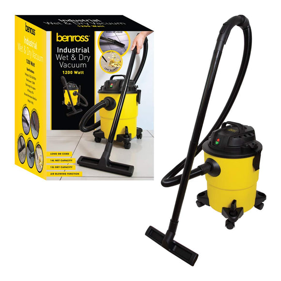 Benross 43719 3 in 1 Wet and Dry Bagless Vacuum Cleaner with Blower, 1200W, 5m Cable, H35 x D52Ø, Yellow