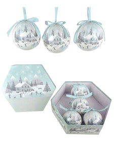 14 Pc DECOUPAGE BAUBLE - SNOWY VILLAGE