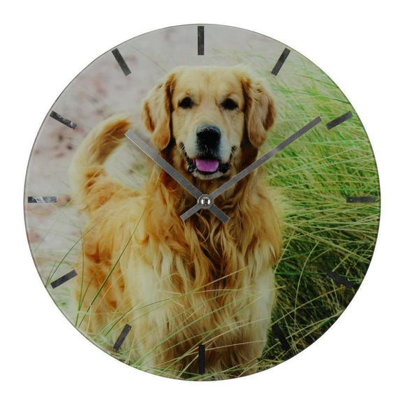 Best Of Breed Collection Dog Lover Glass Wall Clock - Golden Retriever