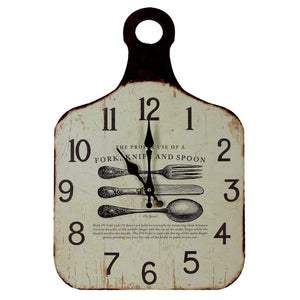 Chopping Board Design Wall Clock With Dining Cutlery Theme Wall Clock