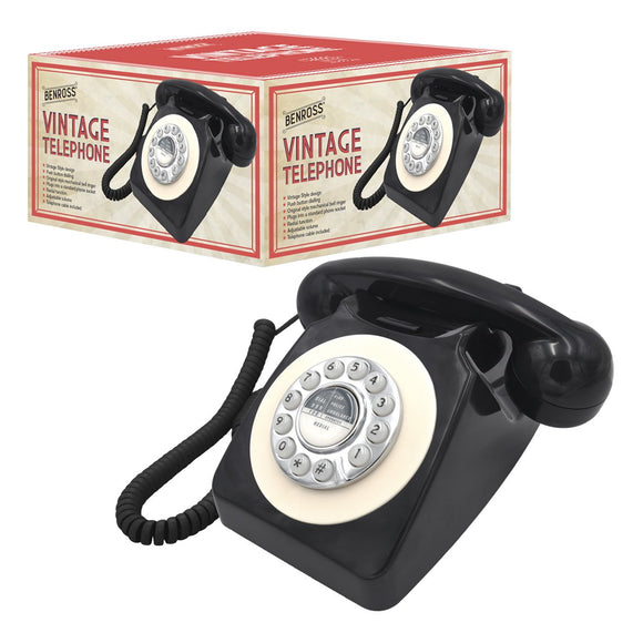 Benross 44520 Classic Retro Vintage Style Home Telephone - Black