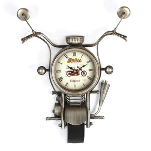 LARGE METAL MOTORBIKE WALL CLOCK 54CM