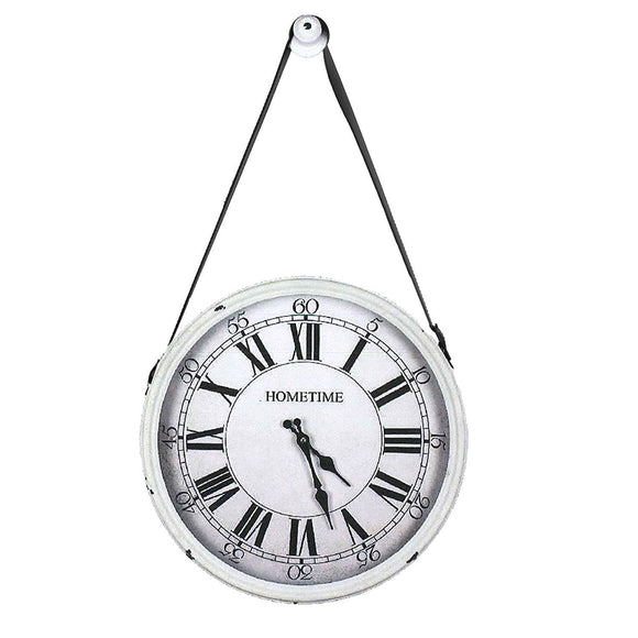 Hometime Metal White Hanging Wall Clock with Wall Peg