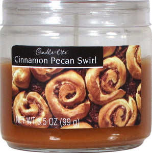 Candle-lite Everyday Scented Cinnamon Pecan Swirl Single Wick 3oz Small Sampler Glass Jar Candle, Edible Gourmand Fragrance