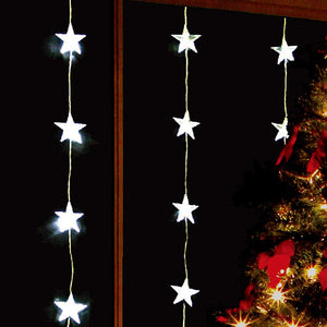24 LED Star Curtain Lights, Indoor and Outdoor ~ Bright White