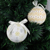 14-Piece 75 mm Frost/ Snow Design Decoupage Baubles