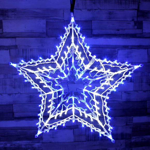 LED Blue and White Star Silhouette ~ Indoor ~ Battery Operated