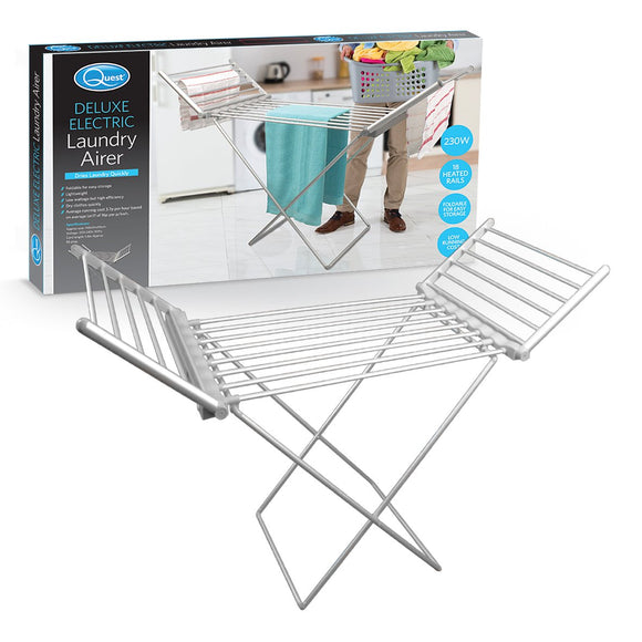 Quest 43670 Electric Clothes Airer Less Than 4p per Hour Energy Saving and Foldable, 230 Watt, 18 Heated Bars, 93cm x 148cm x 54cm