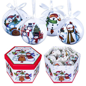 4-Piece Snowman Decoupage Christmas Tree Baubles