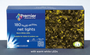 180 Multi Action Warm White Bulb LED Net Lights with Green Cable