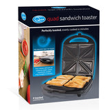 Quest 35990 Quad Four Sandwich Toaster Maker Non Stick with Auto Temperature Control, Stainless Steel, 1100 W