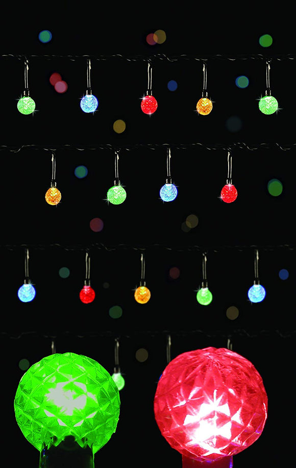 100 Multi-action Multi LED Faceted Christmas Lights