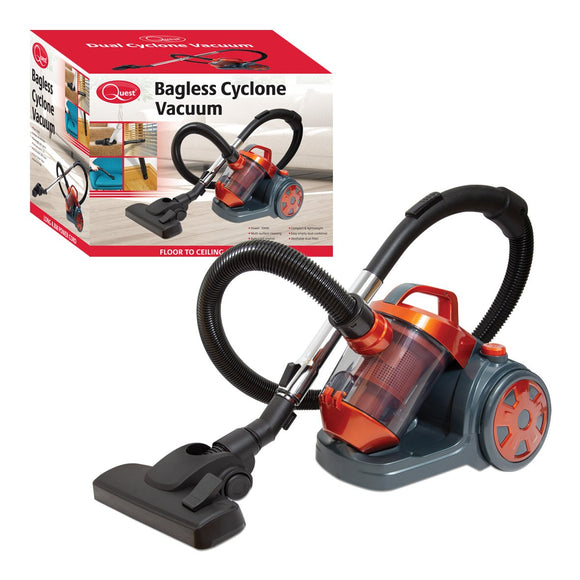 Quest 700W 1.5L Compact Bagless Cyclonic Vacuum Cleaner – Powerful Suction, Long 4.8m Power Cable & Washable HEPA Filtration Technology