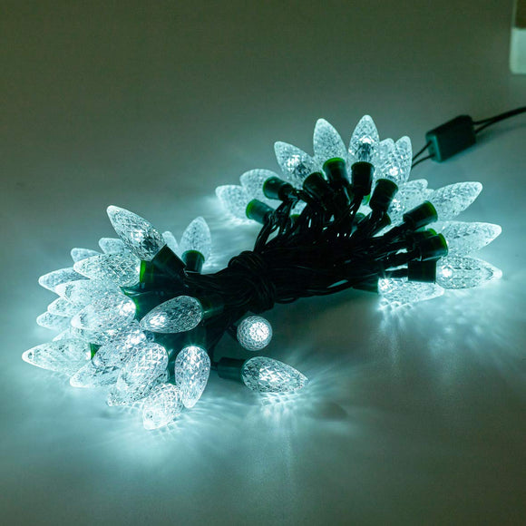 50 Battery Operated LED Berry Chaser Lights with Timer - Clear White