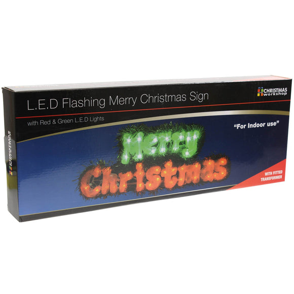 40 LED Merry Christmas Sign ~ Red and Green ~ Indoor ~ Battery Operated