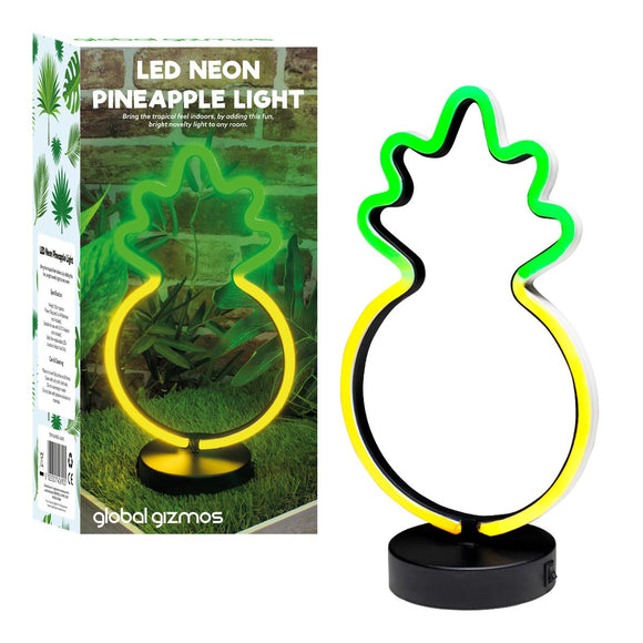 Global Gizmos LED Neon Pineapple Light 30cm Powered by Battery or DC Adapter - Fun Indoor Table Lamp Perfect for a Themed Party, Living Room, Bedroom or as a Gift