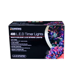 400 LED Battery Operated Timer Lights~ Indoor and Outdoor ~Multi-Coloured