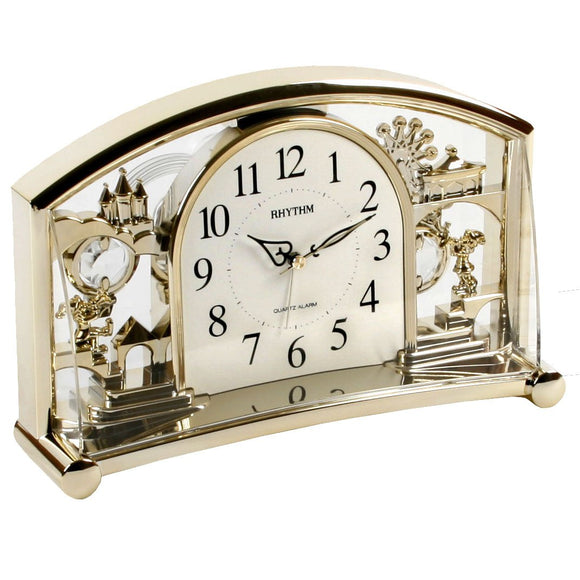 RHYTHM Silent No Ticking Alarm Mantel Clock with Rotating Swarovski Pendulum
