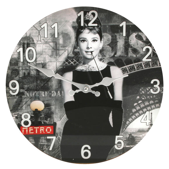 Hometime Glass Wall Clock 30cm - Audrey Design