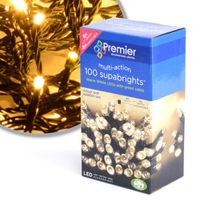 100 LED LIGHTS - DECORATIONS - IN / OUTDOOR - MULTI-ACTION - WARM WHITE